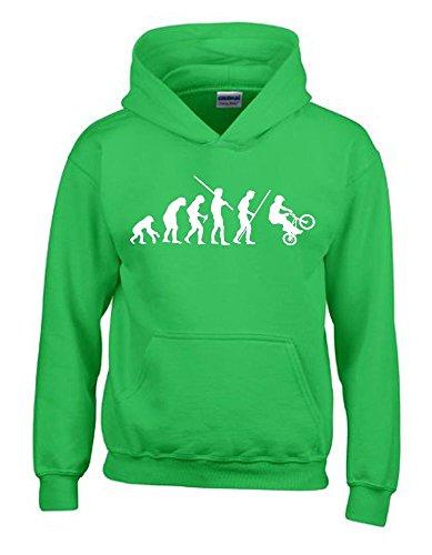 BMX Evolution Kinder Sweatshirt mit Kapuze HOODIE green-weiss, Gr.128cm