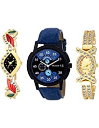 The Shopoholic Combo Latest Fashionable Blue Gold And Black Stainlais Steel Dial Analog Watch For Girls -Combo...