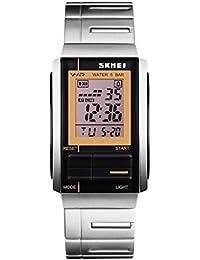 YPS unisex de moda de lujo ocasional del LED Digital Deportes acero lleno relojes de pulsera-Oro Negro WTH3448