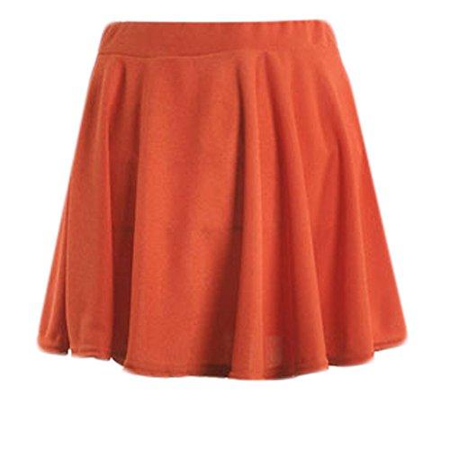 POIUDE Damen Basic Solide Vielseitige Dehnbar Hohe Taille Informell Mini Glocken Stretch Rock(Orange, X-Large)