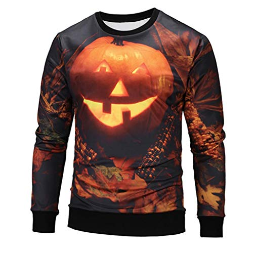 ITISME TOPS Frauen Schwarz Halloween Kürbis Gesicht Gedruckt Sweatshirt Jumper Pullover Tops