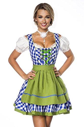 Dirndl Kleid Kostüm mit Schürze Minidirndl mit Karomuster und ausgestelltem Rockteil Oktoberfest Dirndl blau/grün/weiß M