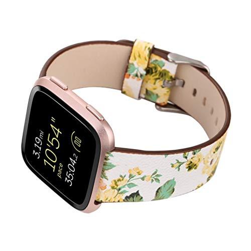 Altsommer Armband für Fitbit Versa Weiches Leder Gurt mit Metall Schließe Blume Armband Muster Serie, Bunt Leder Sportarmband Uhrenarmband die Vielfalt der Blumen für Damen (Gelb) - Fitbit-armband Faltschließe