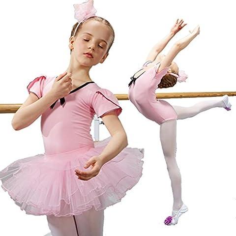 Wgwioo danse de ballet pour enfants, garçon, table de jardin, princesse, manches courtes, tulle, mousseline, fête, enfants, scène, performance, costumes, étudiants, groupe, équipe, gymnastique, pratique, faire des vêtements , pink ,