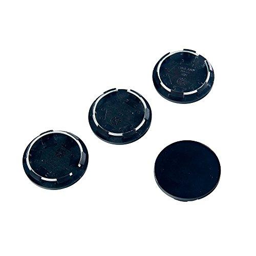 BAAQII 4pcs Noir Racing Car Wheel Centre Caps Hub Covers Set No Logo 50mm Universal