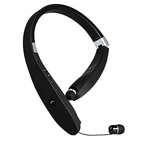 GRDE® Neckband Wireless Bluetooth 4.1 Headphones with Retractable Earbuds, Foldable Headset Noise Cancelling Earphones with Microphone for iPhone, Samsung, HTC, Huawei, Nokia