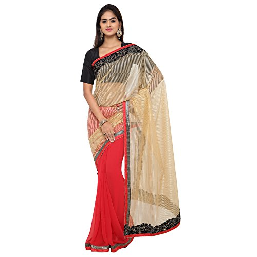 Sarvagny Clothing Women's Beige Net & Georgette Bollywood Saree with Blouse Piece  available at amazon for Rs.399