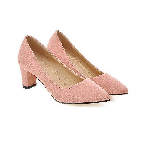 VogueZone009 Damen Rein Nubukleder Mittler Absatz Spitz Zehe Ziehen Auf Pumps Schuhe Pink