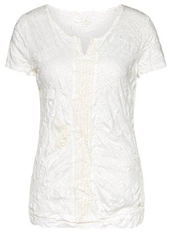 Tom Tailor für Frauen T-Shirt T-Shirt mit Crinkles und Häkelei Whisper White