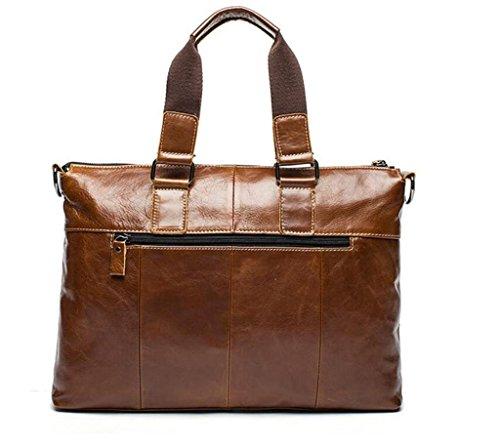 Shfang Mens Leather Bag / Casual Business Mens Handbag / Mens Shoulder Bag / Briefcase / Messenger Bag, 2 3