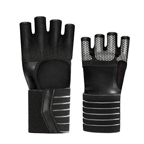 Mexhh Vier-Finger-Fitnesshandschuhe Fitness-Sport-Halbfinger mit Armb?ndern Rutschfeste, atmungsaktive Fitnessger?te-Fahrrad-Reithandschuhe