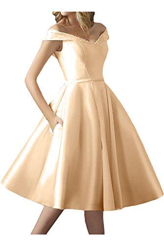 TOSKANA BRAUT Damen Schnuerung Abendkleider Kurz Satin Braut Party Ball Hochzeitskleider Champagner