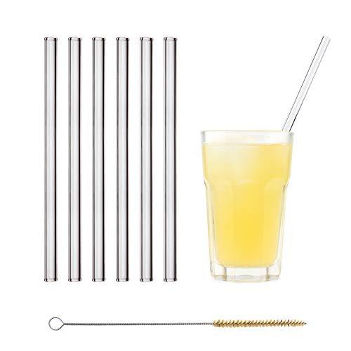 Wiederverwendbar Trinkhalm - 6 Stück gerade 23 cm + plastikfreie Reinigungsbürste - Spülmaschinenfest - Nachhaltig - Glastrinkhalme Glasstrohhalme für Smoothies, Long-Drinks, Saft ()