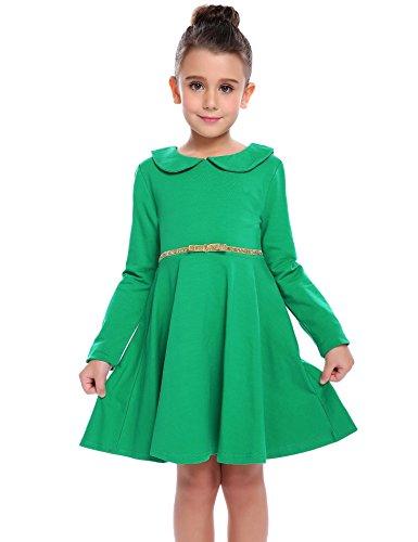 Kinder Süße Kleid Grün (CHIGANT Mädchen Langarm Kleid Sweatkleid A-line Kleid Skaterkleid mit Bubikragen Gürtel für Herbst und Frühling Gr.90-130 2-8 Jahre)