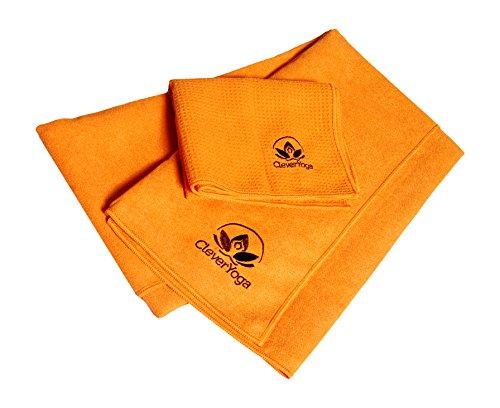 Clever Yoga Handtuch und Handtuch Combo rutschfest, langlebig Mikrofaser - Orange