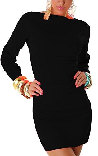 Jela London Damen Strickkleid elegant & langärmelig Einheitsgröße (32-38), schwarz