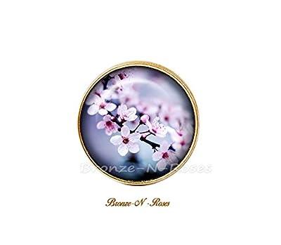 Bague * Sakura * Nature cabochon bronze fleur de cerisier violet mauve Japon