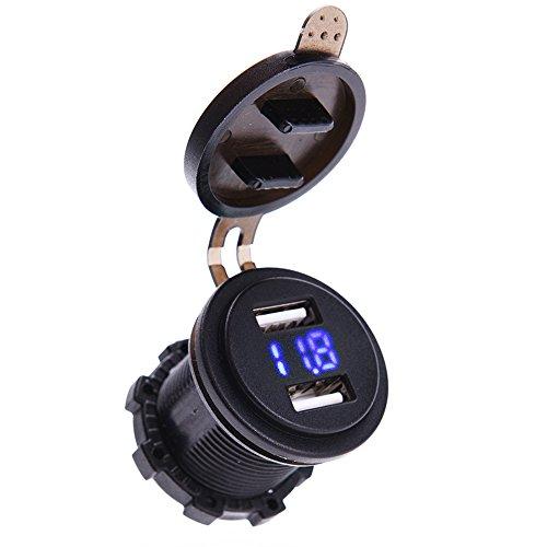 Preisvergleich Produktbild MICTUNING 12-24V LED Digital Voltmeter mit Dual USB Ladegerät Auto 4.2A Steckdose Voltmeter für Fahrzeug Motorrad Boot Blau