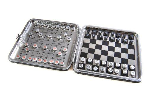 Azerus Alu Line: Aluminium-Leder Box 2-in-1 Spielset B: Schach, Xiangqi - mit magnetischen Spielsteinen, Spielbrett 11,5cm x 11,5cm x 0,7cm (XY009P2N DE)