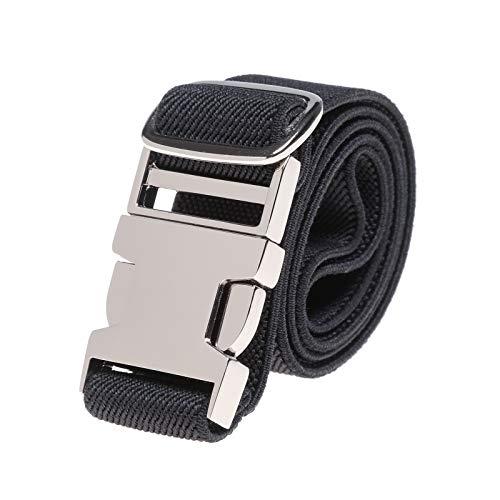 Kinder elastische Schnalle Hose Gürtel - Stretch Gürtel mit Zinklegierung Schnalle verstellbarer Gürtel für Jungen Mädchen Easy Clasp Gürtel (Schwarz)