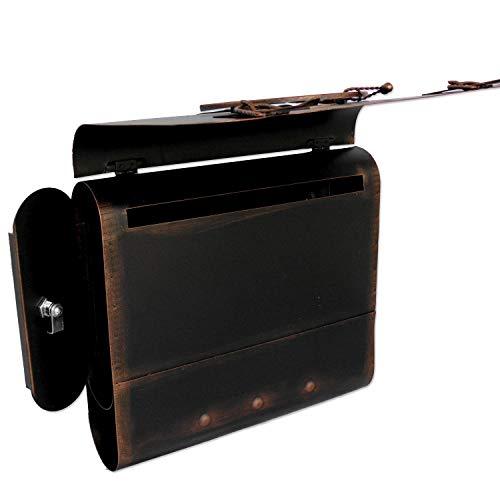 Briefkasten alter Schulranzen mit Posthorn im Antik-Look – Schwarz-Kupfer – Entnahme: Links - 3