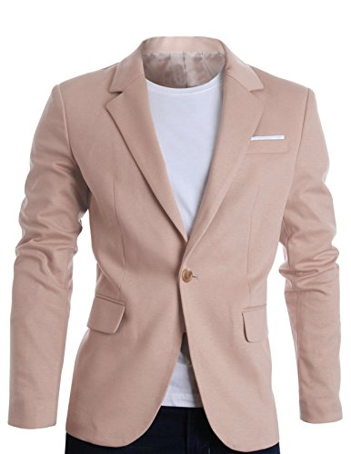 FLATSEVEN Slim Fit Veste Blazer Casual Premium Homme Beige