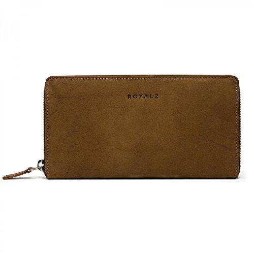 ROYALZ Vintage Geldbörse für Damen mit RFID Blocker aus echtem Büffel-Leder Portemonnaie Brieftasche Querformat klassisch groß, Farbe:Sonora Braun (Klassische Geldbörse Aus Leder Leder)