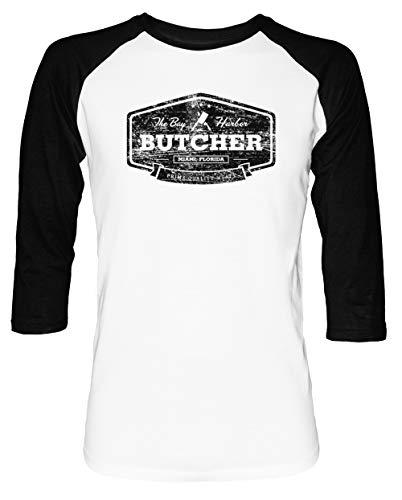 Das Bucht Hafen Metzger Herren Damen Unisex Baseball T-Shirt Weiß Schwarz 2/3 Ärmel Women's Men's Unisex Größe XXL Men's White T-Shirt XX-Large Size XXL