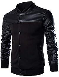 Rera Homme Manteaux Coats d aviateur en Cuir PU Patchwork Blouson Baseball Veste  Jacket Bomber 2d56f011bbf