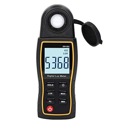 Kitabetty Digitales Beleuchtungsstärkemessgerät, handgehaltener Umgebungstemperaturmesser mit Einer Reichweite von bis zu 199900 Lux. Tester mit 4-stelligem Farb-LCD-Bildschirm