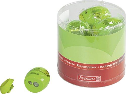 Brunnen 102987952 Dosenspitzer mit Radiergummi Colour Code (5,8 x 4,2 x 3,7 cm, Doppelspitzer) grün...