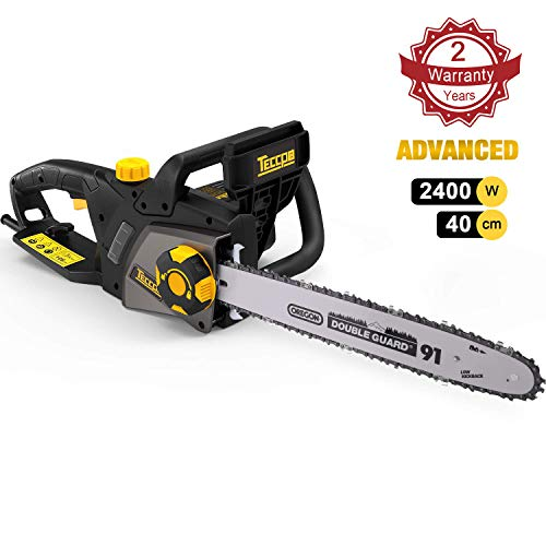 TECCPO Chain Saw, 2400W Corded Electric Chainsaw, 40 cm Oregon Bar and Chain, Chain Speed 15m/s, Tool-Free Adjustment Chain Tension, Double Safety Switch and Mechanical Brake - TACS01G