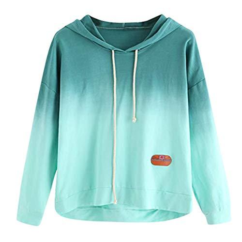 amen Frauen Hoodie Bedruckte Patchwork-Sweatshirt Langen Ärmel Pullover Tops Bluse ()