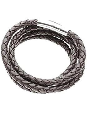 Leder-Edelstahlband, Lederhalsband Lederkette geflochten aus Ziegenleder, Farbe dunkelbraun-biologisch eingefaerbt...