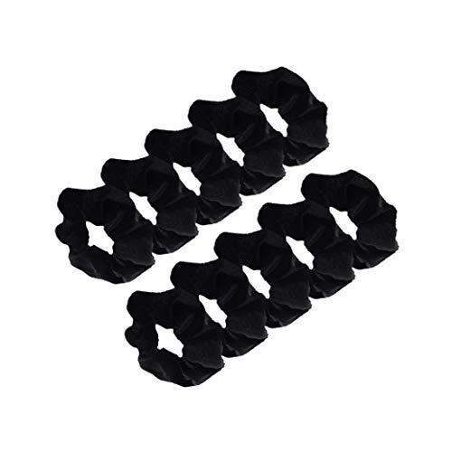 JZZJ 10 Pack Black Velvet Scrunchie Hair Elastics Hair Bobbles Hair Bands by