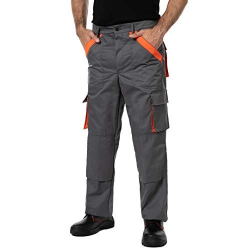 Pantalones de Trabajo para Hombre, Made in EU, Refuerzo y Acolchado en Las Rodillas,...