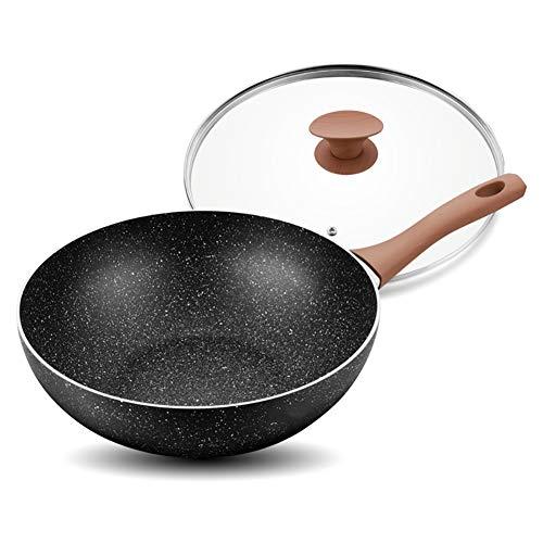 Sartén Sartén Antiadherente, Olla Sin Hollín, para Cocina De Inducción A Gas,Black,30Cm