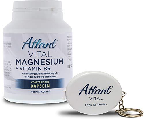 Atlant Vital Power Magnesium hochdosiert mit 400mg Tagesdosis + Vitamin B6 zur Stärkung der Abwehrkräfte-Good Vibes und mentaler Stärke-mit Maßband - Power Magnesium