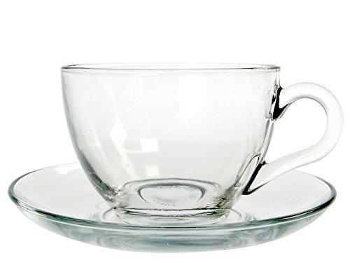 Pasabahce basic servizio tè con piattino, vetro, trasparente, 6 pezzi