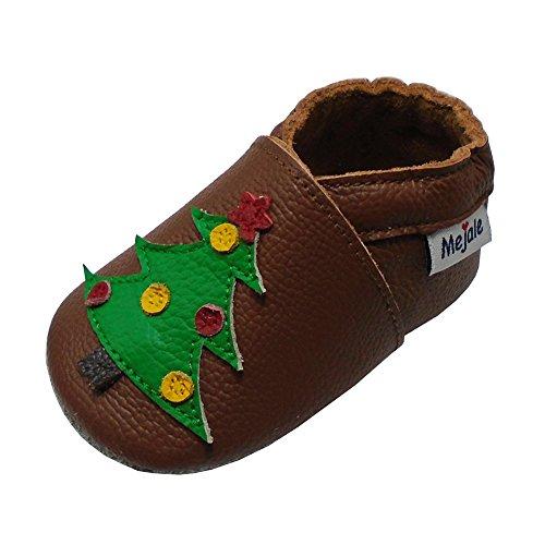 Mejale Weicher Leder Krabbelschuhe Kleinkind Lauflernschuhe Babyhausschuhe mit Wildledersohlen Weihnachtsbaum Hausschuhe(Braun,0-6 Monate) (6 1 2 Weihnachtsbaum)