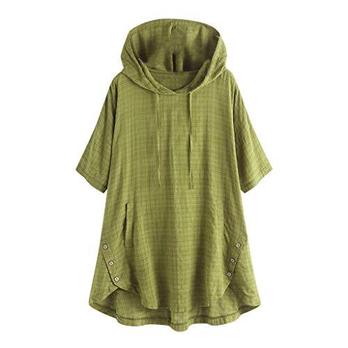 QIMANZI Übergröße Damen Lange Ärmel Kaftan Ausgebeult Taste Bettwäsche aus BaumwolleTunika Bluse(Z Grün,4XL) -
