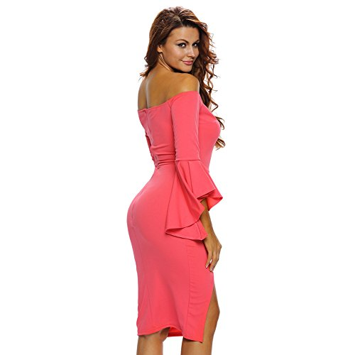 PU&PU Femmes Occasionnels / Sorties / Party Out Of Shoulder Trumpet manches Slit Mini Dress red