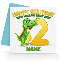 Personalised Boys Dinosaur Birthday Card Any Age, Relative & Message