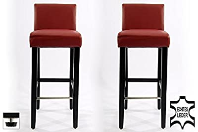 Barstools 2x wood wine-red REAL LEATHER adjustable floor glides - low-cost UK bar stool shop.