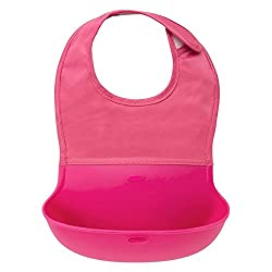 Catchin24 Waterproof Silicone Roll Up Bib for Infants and Kids-Pink