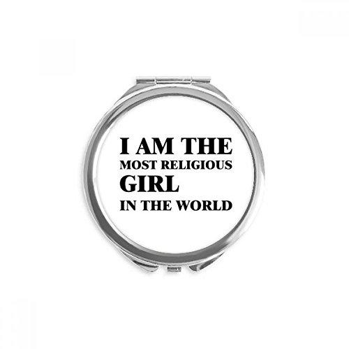DIYthinker Ich bin die religiöse Mädchen Spiegel Runder bewegliche Handtasche Make-up 2.6 Zoll x 2.4 Zoll x 0.3 Zoll Mehrfarbig