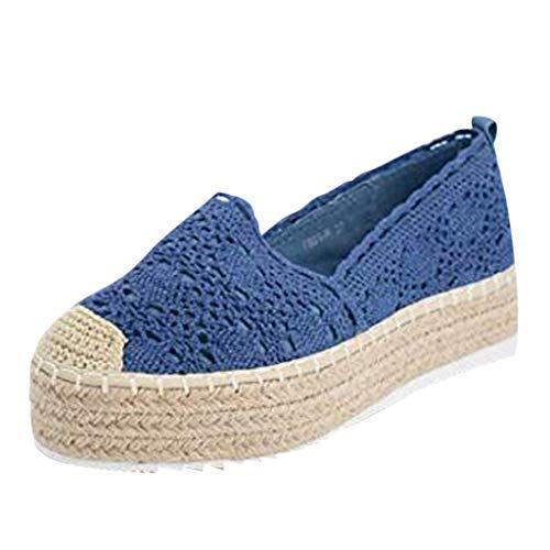 latform Casual Round Toe Schuhe Einfarbig Atmungsaktiv Wedge Espadrilles ()