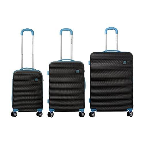 ABS Koffer-Set 3-teilig - Theraleo Reisekoffer Trolley Hartschalenkoffer - Koffer Blau in S-M-L