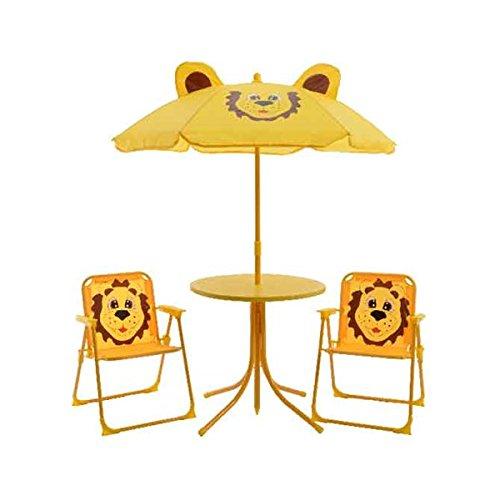 Gartenmöbel Kinder Sitzgruppe Kinderset Loewe 2 Stühle, Tisch und Sonnenschirm Kinder-Gartenmoebel Kindermoebel (Und Kinder Stühle Tisch Metall Aus)