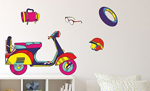 Asian Paints Wall-Ons Scootaway  Wall Sticker (PVC Vinyl, 0.01 cm x 76.2 cm x 30.48 cm)